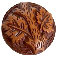 HALF PRICE!  Vintage 1930's Button -Large Buffed Brown Celluloid with Tree Design - 1 & 5/16""