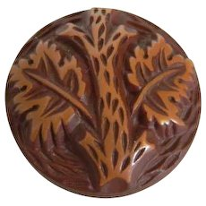 """HALF PRICE!  Vintage 1930's Button -Medium Buffed Brown Celluloid with Tree Design - 1 & 1/16"""""""