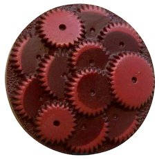 """HALF PRICE!  Vintage 1930's Large Maroon """"Gears"""" Celluloid Button - 1 & 5/16"""""""