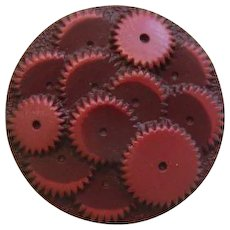 HALF PRICE!  Medium Vintage 1930's Maroon Celluloid Gears Button - 1 & 1/16""