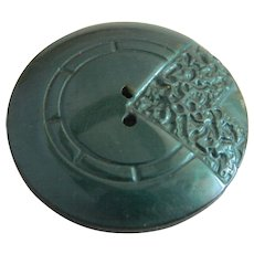Large Vintage Art Deco Green Celluloid Button