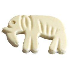 Vintage White Celluloid Realistic Elephant Button