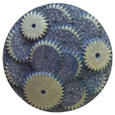 """Large Vintage Blue and Gray 1930's Celluloid """"Gears"""" Button - 1 5/16"""""""