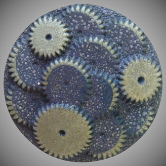 "Large Vintage Blue and Gray 1930's Celluloid ""Gears"" Button - 1 5/16"""