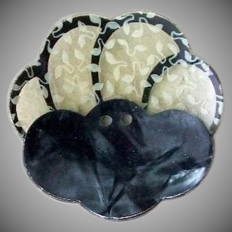 Vintage 1930's Scalloped Medium Black French Layered Scalloped Celluloid Button - 1-1/16""