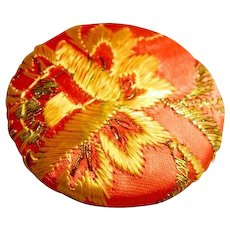 Large Vintage Embroidered Thread Back Fabric Button