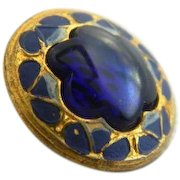 Vintage Cobalt Blue Glass in Metal with Hand Painted Decoration