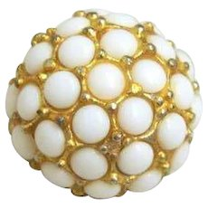 Vintage White Glass in Metal Button