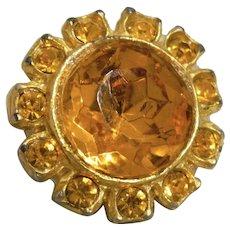 Vintage Orange Glass in Metal Button