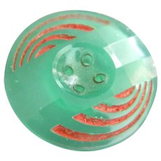 Vintage Green Depression Glass Button with Red Painted Grooves and Faceted Surface