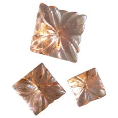 Three Pink Depression Glass Buttons