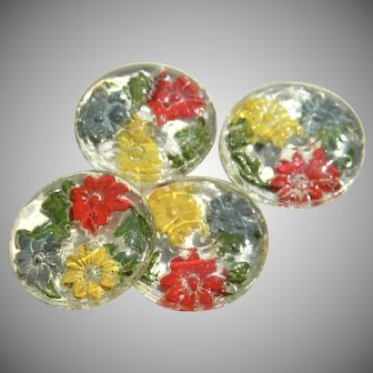 Four Vintage Back Painted Glass Buttons