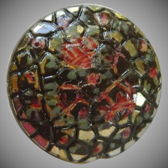 Vintage Hand Painted Textured Glass Button