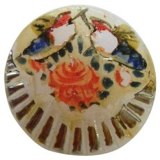 Vintage Hand Painted Painted Glass Button