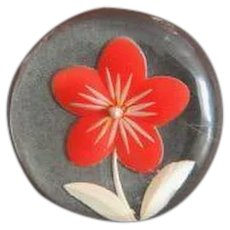 Vintage Back Carved and Painted Flower on a Lucite Button
