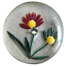 Large Vintage Back Carved and Painted  Lucite Button