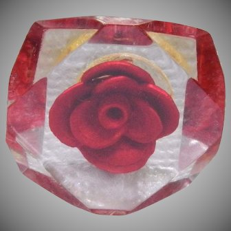 Clear Lucite Button with Red Rose Center