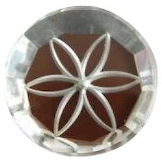 Round Vintage Lucite Button Backpainted and Carved
