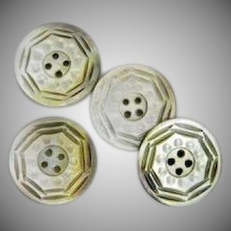 Four Vintage Carved Mother of Pearl Buttons-1-3/16""