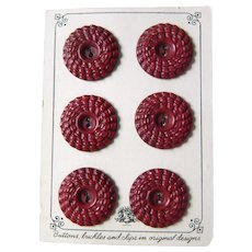 Vintage 1930's Red Buffed Celluloid Buttons on Original Card