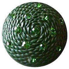 """SALE!  Large Vintage Green Domed Plastic Button with Green Pastes - 1 & 5/16"""""""