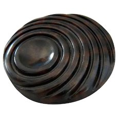 Large Vintage Mottled Brown Art Deco Style Button
