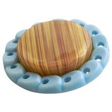 """SALE! Very Large Vintage Blue Plastic Button-Pierced Border-Celluloid Center - 1 & 9/16"""""""