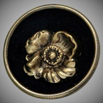 Large Vintage Sam Biern Fabric Back Pansy Button