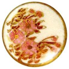 Vintage Satsuma Flower Design Button-1920's