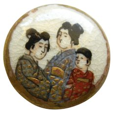 Small Late 19th Century Satsuma Button - Three Geishas