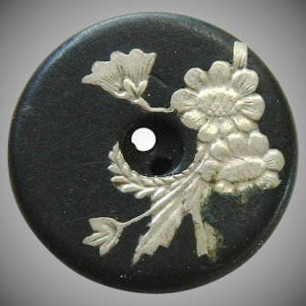 Antique Late 19th Century Horn Button with Silver Inlay Flowers
