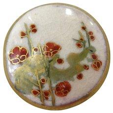Vintage Satsuma Flower Design Button