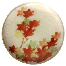 Larger Vintage Satsuma Button with Leaves