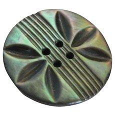 "HALF PRICE!  Vintage Carved Medium Black Abalone Shell Button - 1 & 3/16"""