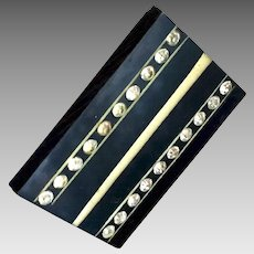 SALE!  Small Black Celluloid Slide with Pastes/Rhinestones
