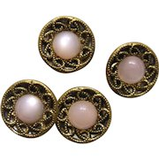 Vintage Pink Moonglow Glass in Twinkle Button