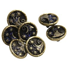 Seven Vintage Victorian Small Metal Plant Life Buttons