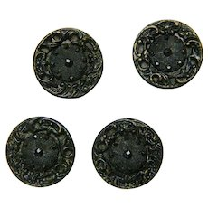 Vintage Antique Victorian Brass and Black Glass Buttons - 9/16""