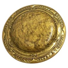 Large Victorian Celluloid in Metal Button