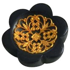 Vintage 1930's Chunky Wood Button with Metal Filigree