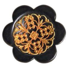 Vintage 1930's Large Chunky Black Wood Button with Metal Filigree