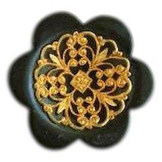 Vintage 1930's Medium Chunky Black Wood Button with Metal Filigree