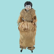Antique German Miniature China Shoulder Head Doll, 6 ¼ Inches
