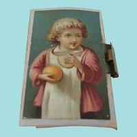 19th Century Needle Packet Book With Delightful Colour Print