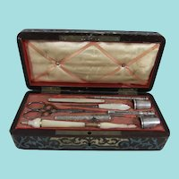 Inlaid Regency Sewing Box with Silver & Mother of Pearl Tools, Circa 1815