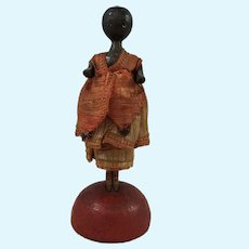 Reserved for Giovanni - Rare Miniature Anri Wooden Doll, 1925, Dressed, 3 ½ Inches
