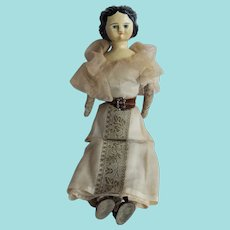 German Carved Wooden Head Doll, Cloth Body, 15 ¾ Inches