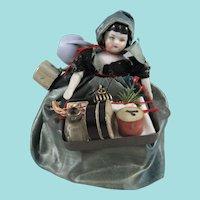 Miniature China Head Pedlar Doll, 4 ½ Inches