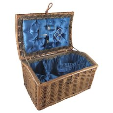 Fabulous Padded & Satin-Lined Wicker Sewing Basket, 8 Inches