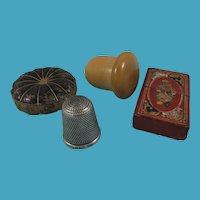 Tooled Leather Needle Case, Vegetable Ivory Thimble Holder & Thimble + Leather Pumpkin Pin Cushion